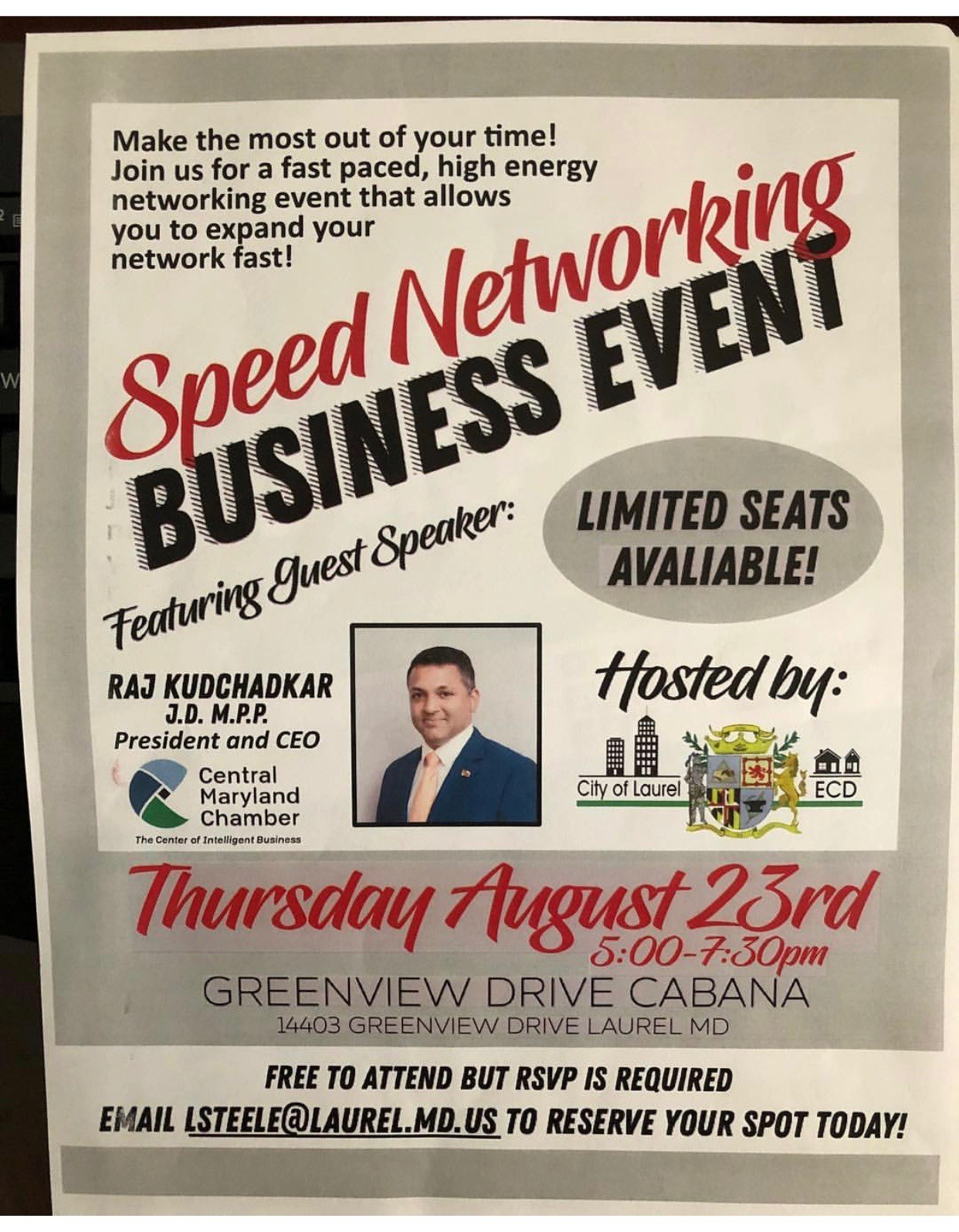 Ecd Speed Networking Event City Of Laurel Maryland