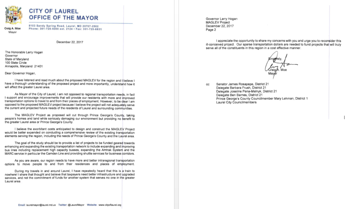 Mayor Craig A Moe Sends Letter To The Governor Opposing The Maglev