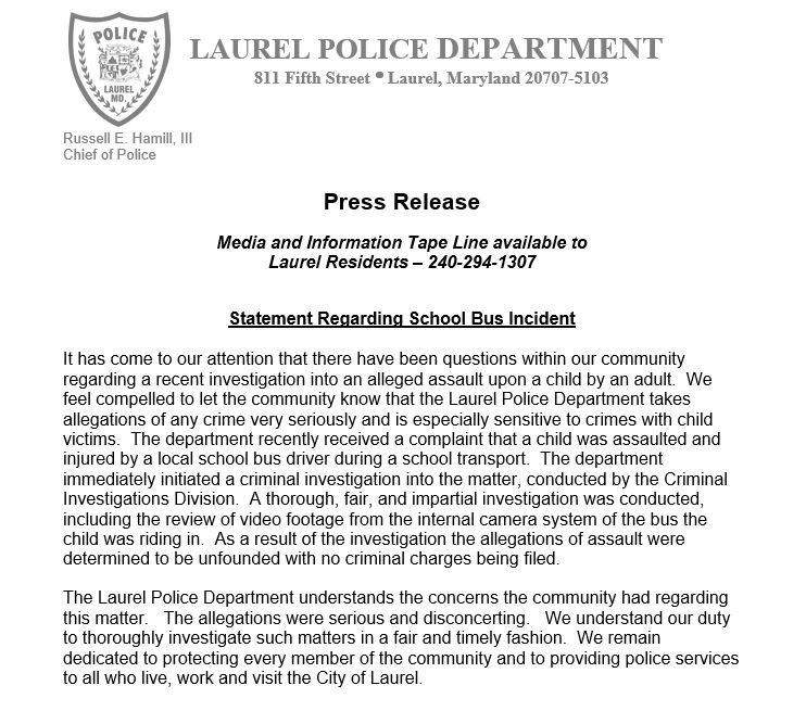 Laurel Police Statement about School Bus Incident - City of Laurel, Maryland Laurel Police Statement about School Bus Incident - 웹